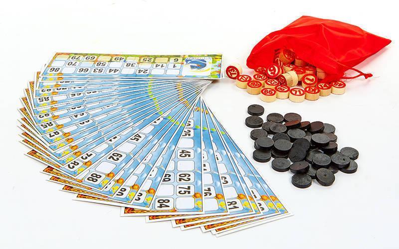 Лото настольная игра в прозрачном чехле Эконом (90 дер.боч, 24 карточки, 40 пласт. фиш.)