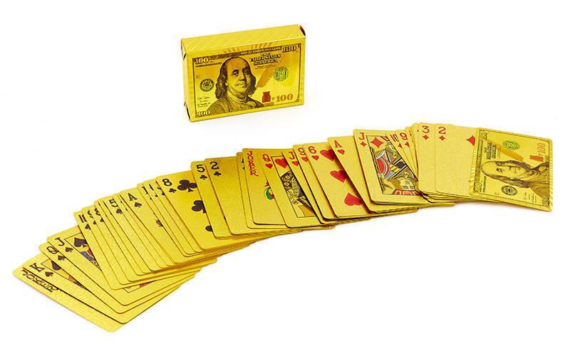 Игральные карты золотые GOLD 100 DOLLAR (колода в 54 листа, толщина-0,28мм)