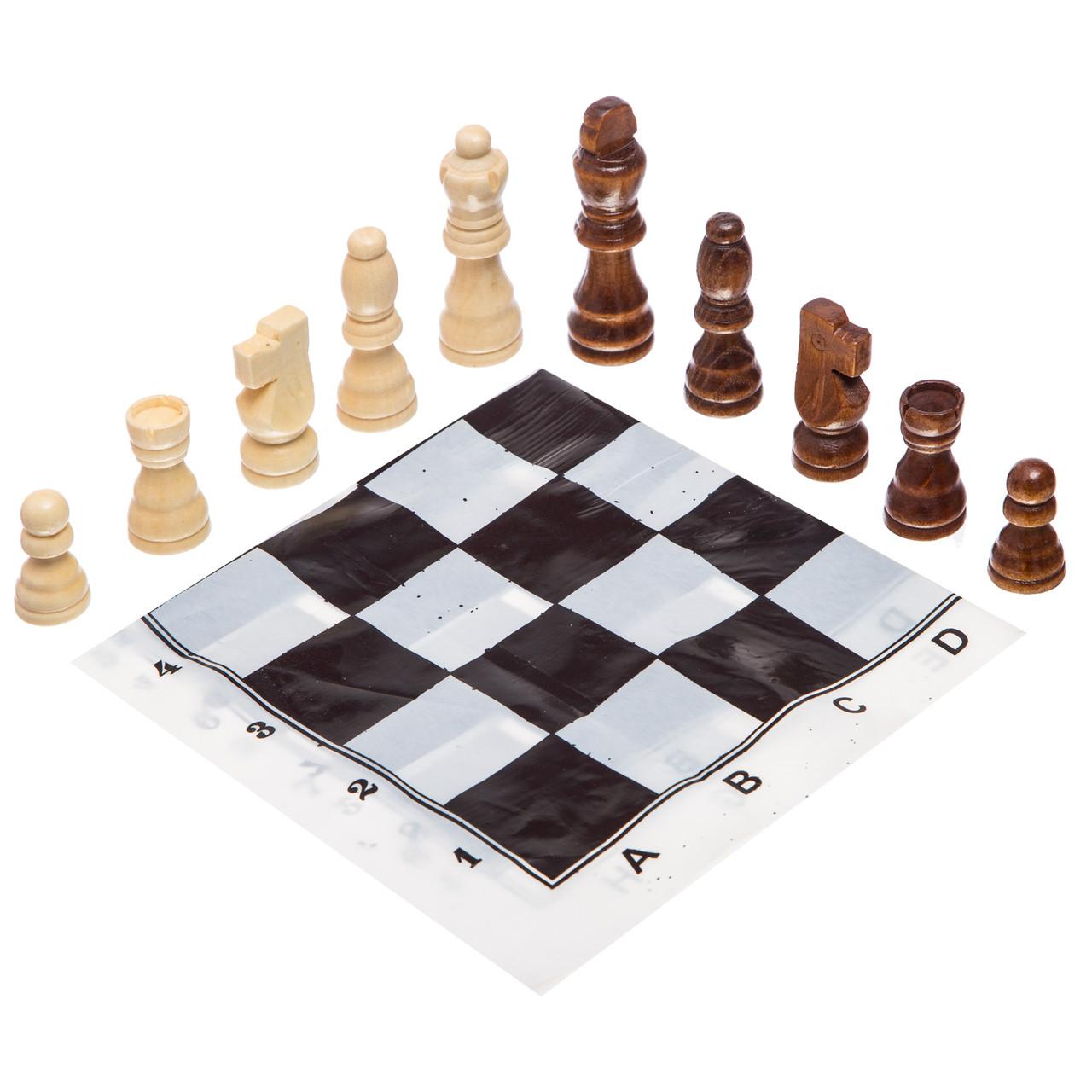 Шахматные фигуры деревянные с полотном PVC для игр (дерево, h-7,8см)
