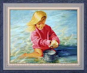 """Набор алмазной вышивки (частичная зашивка) """"Девочка у моря"""""""