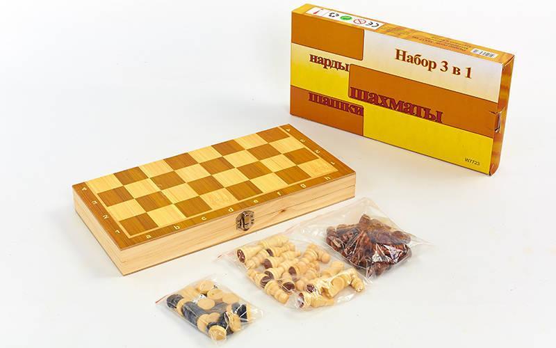 Шахматы, шашки, нарды 3 в 1 деревянные (фигуры-дерево, р-р доски 34x34см)