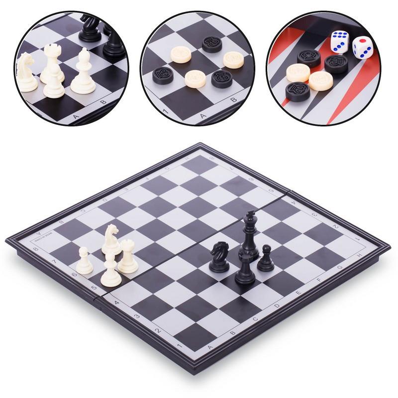 Шахматы, шашки, нарды 3 в 1 дорожные пластиковые магнитные (р-р доски 33см x 33см)