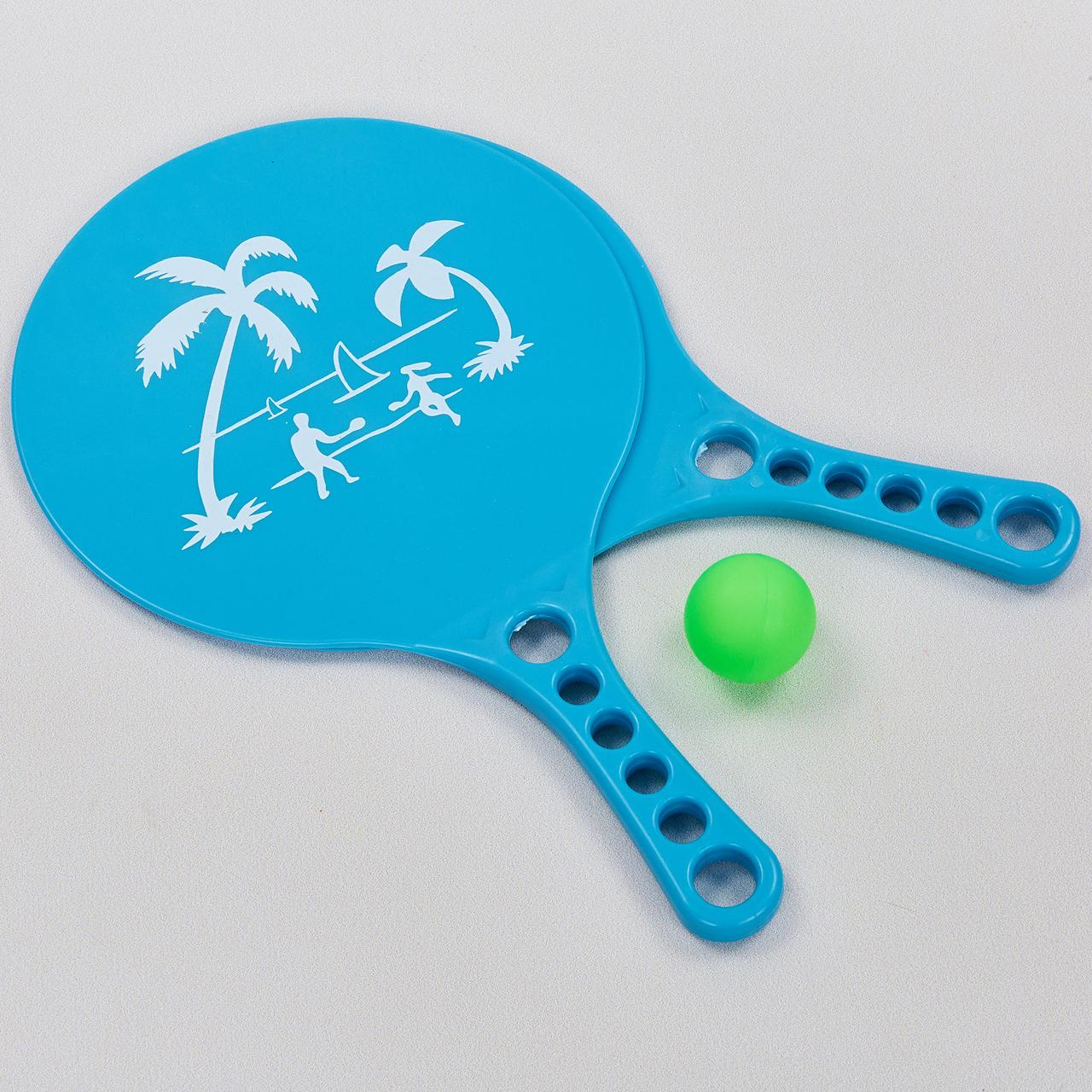 Набор ракетки и мячик для пляжного тенниса (пластик, размер 33,5x20см, 2 ракетки + 1 мячик)