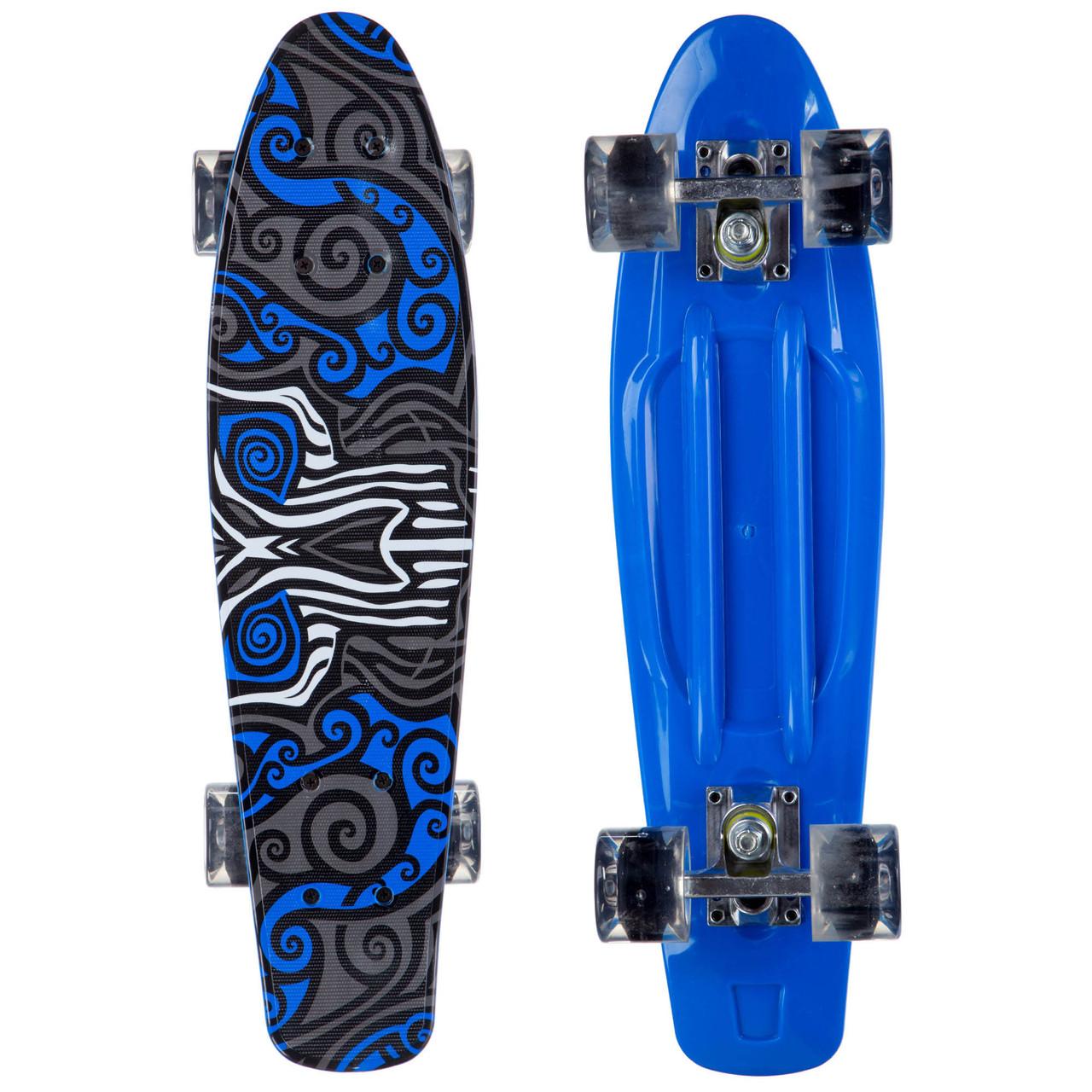 Скейтборд пластиковый Penny 22in со светящимися колесами с рисунком (колесо-PU, р-р деки 56х15см, синий)