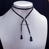 Чекер с подвесами из хрусталя и бантом, объем изделия около 40 см, колье, ожерелье, черный