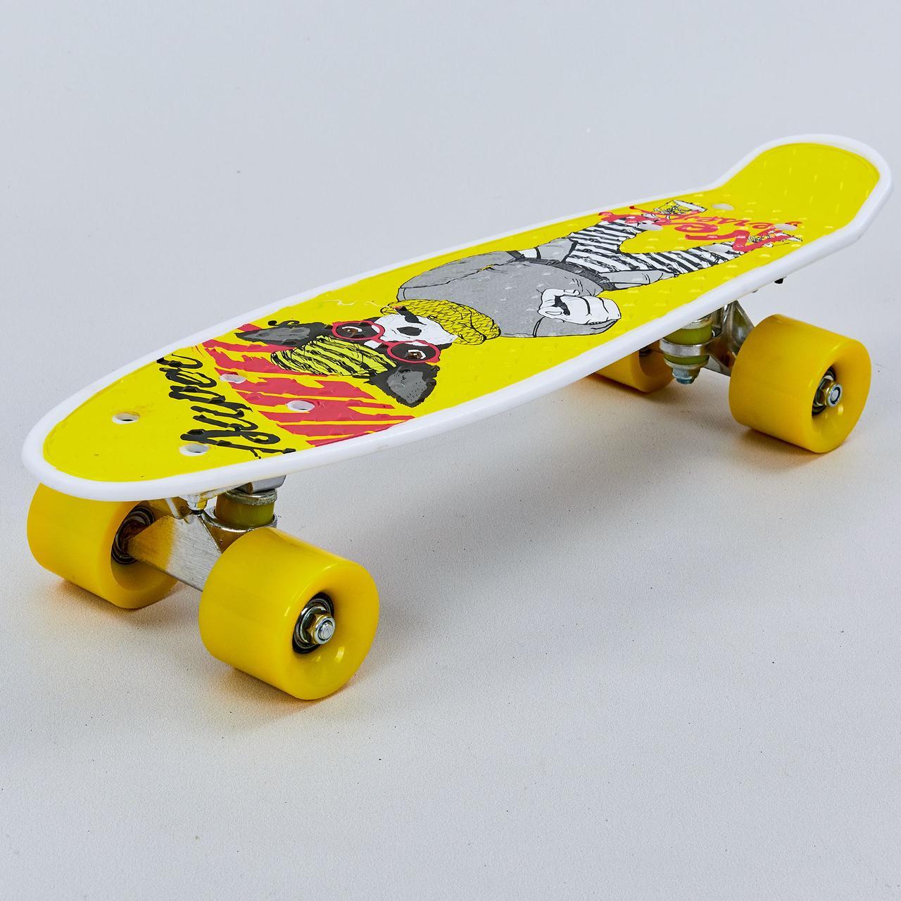Скейтборд пластиковый Penny 22in с рисунком СОБАКА (колесо-PU d-6см, р-р деки 55х14,5см, желтый)