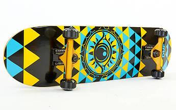 Скейтборд деревянный в сборе из канадского клена 31in FISH EYE (черный-синий)