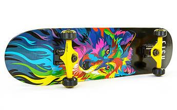 Скейтборд деревянный в сборе из канадского клена 31in FISH WOLF (черный)
