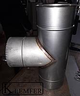 Тройник 90* нержавеющий одностенный Ф120 0.8мм AISI430