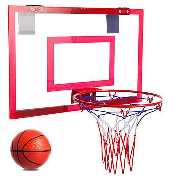 Щит баскетбольный с кольцом, сеткой и мячом (щит-оргстекло 46х30,5см, кольцо-сталь d-23см) PZ-4630L