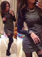 Женское платье  с кожаными рукавами