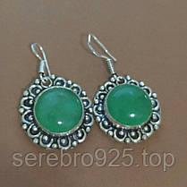 Серьги с натуральным камнем зелёный оникс в серебре, фото 3