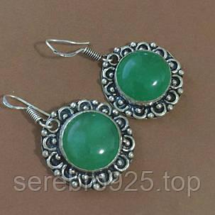 Серьги с натуральным камнем зелёный оникс в серебре, фото 2