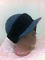 Вязанная шапка с козырьком или бейсболка  с двойным отворотом, фото 1