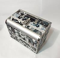 Б'юті алюмінієвий кейс валізу з ключем журнал чорно білий, фото 1