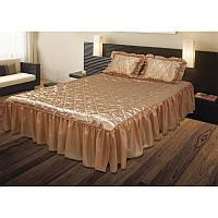 Комплект ТЕП: покрывало «Glamour»  и 2 подушки с оборками, коричневый.