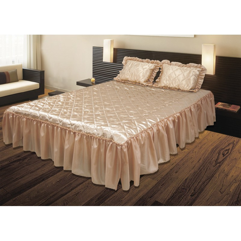 Комплект ТЕП: покрывало «Glamour»  и 2 подушки с оборками, персиковый.