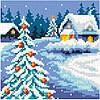 Алмазная живопись Рождество, размер 19*19 см, забивка полная, стразы квадратные, без подрамника