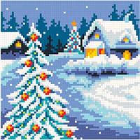Алмазная живопись Рождество, размер 19*19 см, забивка полная, стразы квадратные, без подрамника, фото 1