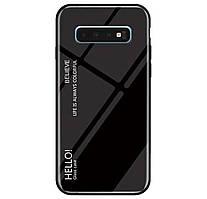 Чехол-накладка TPU+Glass Gradient HELLO для Samsung Galaxy S10 SM-G973F Black