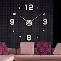 Модные настенные часы 3Д наклейки от 60 до 120 см цвет серебро (ZH-205S)