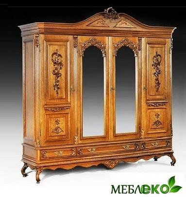 """Шкаф элитный резной четырехдверный  с зеркалами из массива дуба """"Королева""""."""