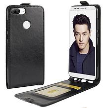 Кожаный чехол флип для Huawei Honor 9 Lite черный