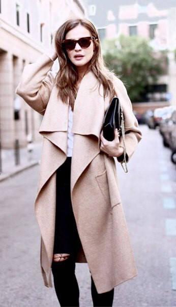 Кашемировое пальто с воротником-воланом без застежки (беж,черный,красный)