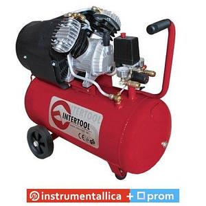 Компрессор 50л 8атм 354л/мин 220В PT-0004 Intertool 2.23кВт 3HP 2 цилиндра