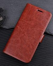 Кожаный чехол-книжка для OnePlus 6 коричневый