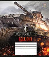 """Тетрадь 12 листов клетка """"Зошит України"""" World Of Tanks атака-15, фото 1"""