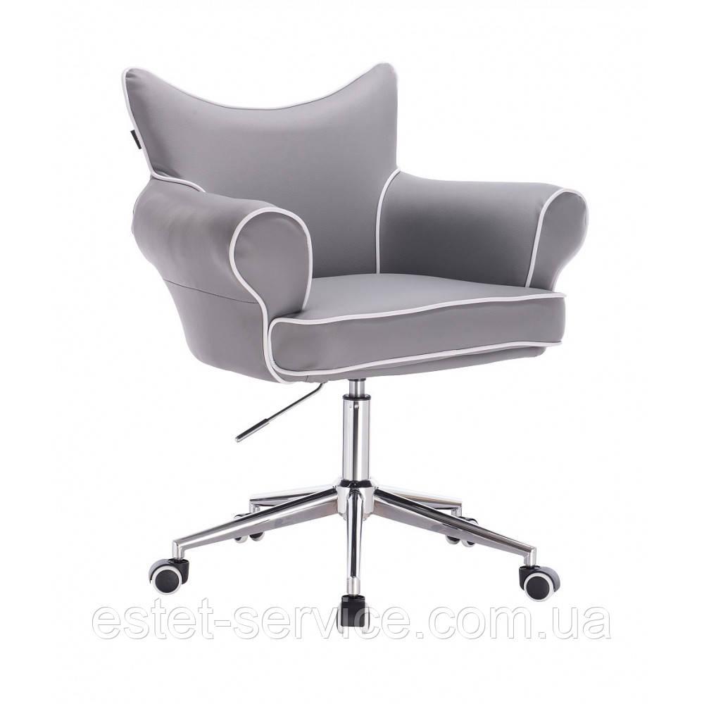 Кресло для клиента HROOVE FORM HR332K на колесах стопках в ЦВЕТАХ кожзам