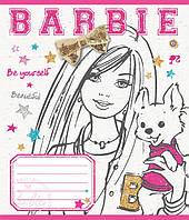 """Тетрадь 12 листов клетка """"Зошит України"""" Barbie Fashion -15, фото 1"""