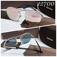 Cолнцезащитные очки зеркальные розовые пудра Tom Ford кругляши