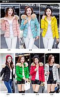 Стильная яркая  короткая куртка коттон с мехом  7 цветов , фото 1