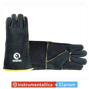 Перчатка замшевая 35 см 60 пар/ящ черная SP-0157W Intertool цена за ящик