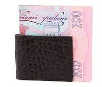 Компактный кожаный зажим для денег Shvigel 00357 Черный, Черный, фото 1