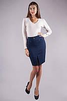 Синяя женская юбка с разрезом , фото 1