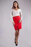 Красная женская юбка с разрезом , фото 1