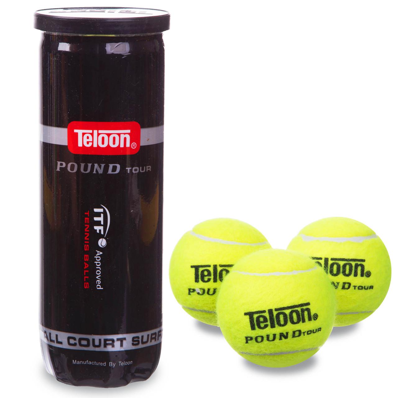 Мяч для большого тенниса TELOON POUND (3шт) (в вакуумной упаковке)
