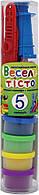 """Пластилиновая паста """"Веселое тесто"""" 5 цветов 30 грамм+8 форм в пластиковой тубе 1 Вересня"""