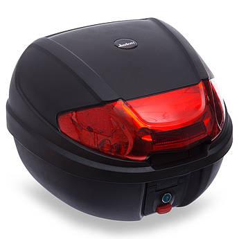 Мотосумка (1 кофр) центральный (PL, пластик, см, черный-красный) PZ-2013