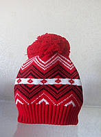 Теплая вязаная  шапка с бубоном , фото 1