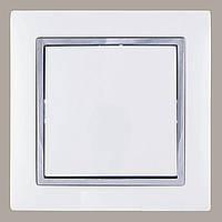 Выключатель (с рамкой) LXL Tesla белый/хром