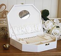 Шкатулка трапеция для ювелирных украшений 26*19*5,6 603440 белая