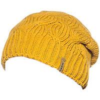 Вязаная женская шапка - носок в стиле Лало, объемной вязки косами, желтого цвета