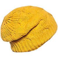 """Вязаная женская шапка - носок """"коса с тенью"""" желтого цвета"""