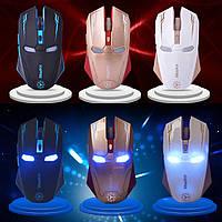 [ Беспроводная мышка Iron Man с подсветкой 2400 dpi ] Оптическая USB мышь Железный человек IM Naffee