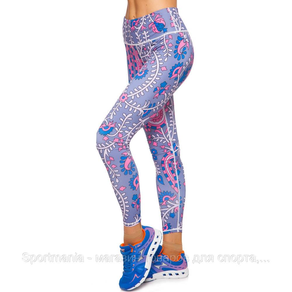 Лосины для фитнеса и йоги с принтом Domino  размер S-L рост 150-180, вес 40-60кг синий-розовый Распродажа!