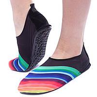 Обувь Skin Shoes для спорта и йоги Радуга размер S-3XL-34-45 длина стопы 20-29см (неопрен, черный) PZ-PL-1814